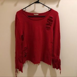LF distressed red sweater
